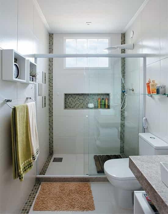 Box de Vidro para Banheiro Incolor de 8 mm Temperado com Acabamento Branco Epox.