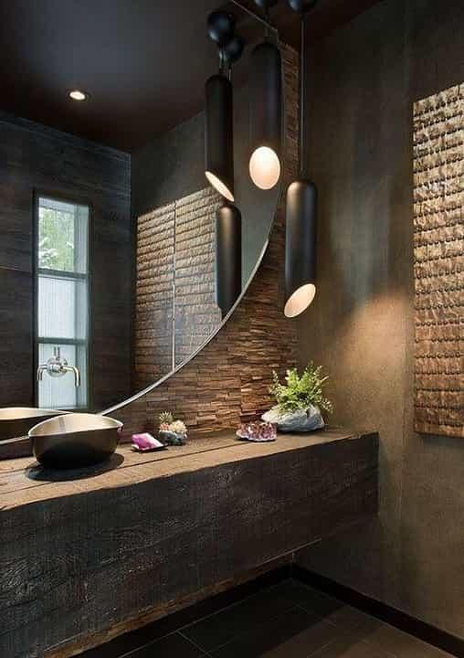 Espelho para Banheiro com Bisotê Modelo Arredondado.
