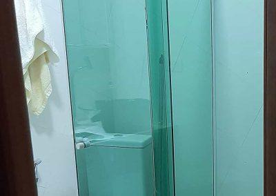 Box em angulo modelo canto vidro verde temperado