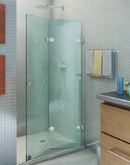 Box flex vidro verde modelo sanfonado da ideia glass com acabamento cromado.